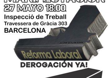 Convocada manifestación en Barcelona por la derogación de las reformas laborales y en denuncia de la siniestralidad laboral