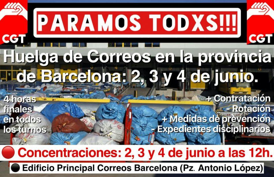 Vaga 2, 3 i 4 de Juny a Correus a tota la província de Barcelona