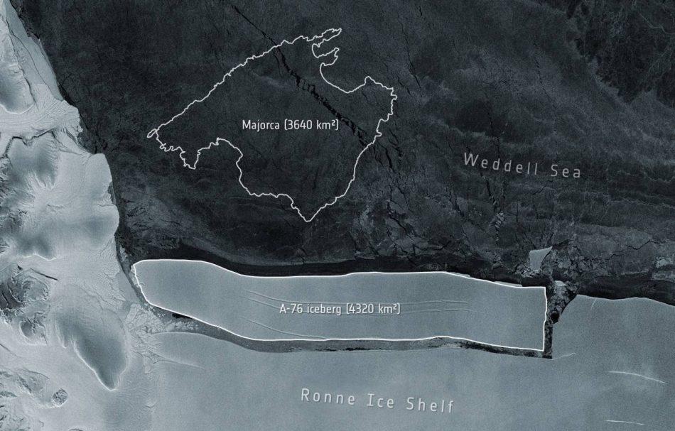 El iceberg más grande del mundo, mayor que la isla de Mallorca, se desprende de la Antártida