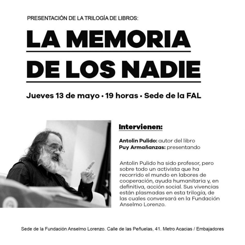 Presentación en la Fundación Anselmo Lorenzo (FAL) de la trilogía 'Memoria de los nadie'
