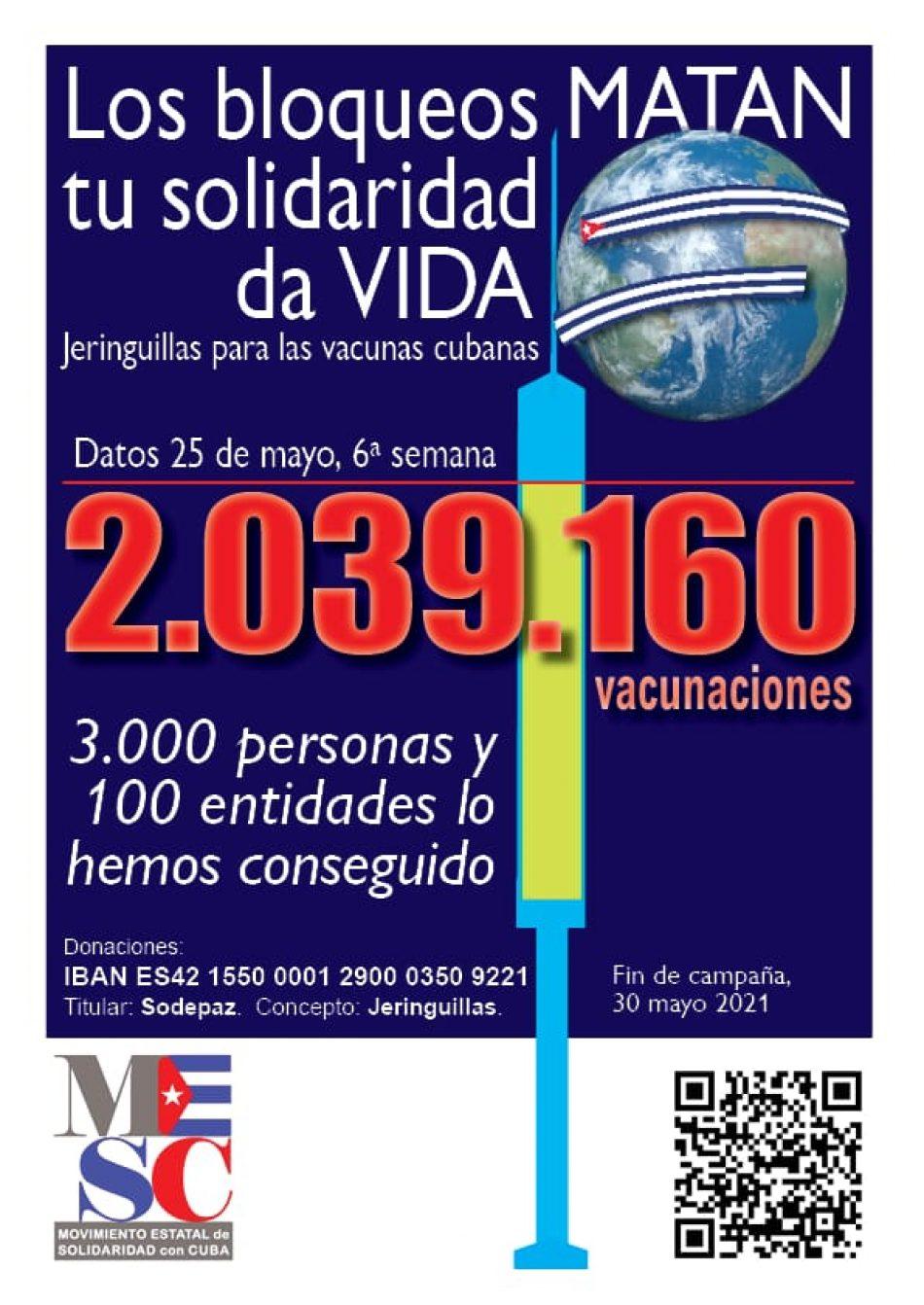 Dos millones de jeringuillas para Cuba: la solidaridad en el Estado español consigue duplicar su objetivo inicial