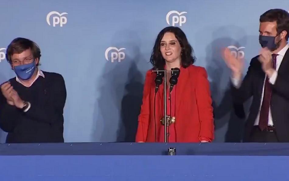 Gana el PP en Madrid tras fagocitar a Cs en una exitosa campaña «populista-trumpista»