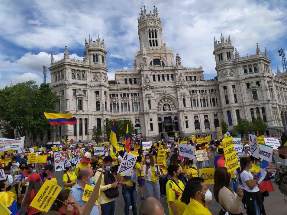 Las protestas colombianas inundan Madrid en una marcha masiva contra el gobierno de Duque y la represión de las movilizaciones