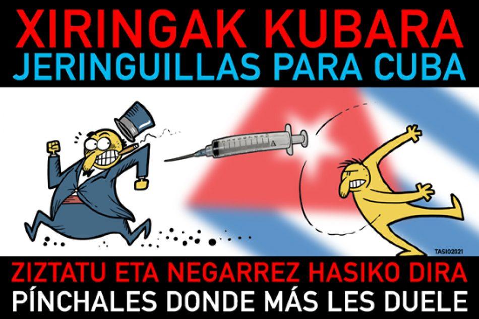 Dibujante Tasio apoya campaña vasca que llega ya a medio millón de jeringuillas para Cuba