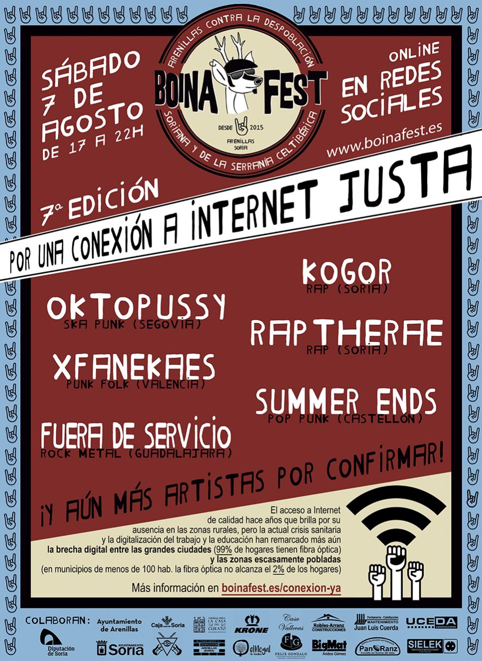 Oktopussy, XFanekaes, Kogor, Raptherae, Summer Ends y Fuera de servicio se unen al Boina Fest en su lucha contra la despoblación y por una conexión a Internet justa