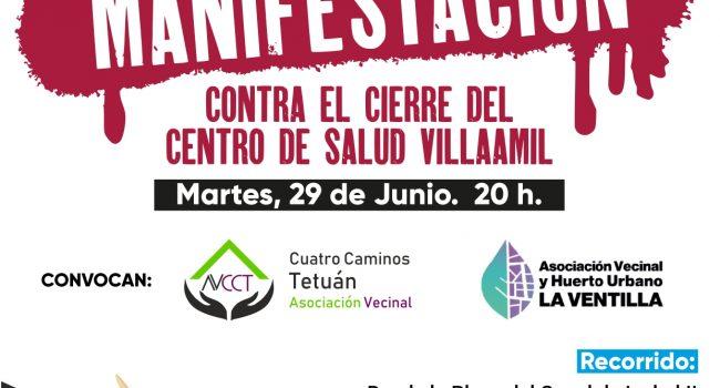 El movimiento vecinal de Tetuán convoca una manifestación contra el cierre del Centro de Salud de Villaamil