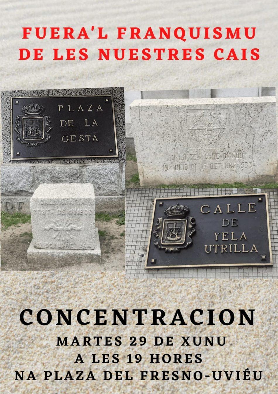 Concentración en Oviedo el 29 de junio: «fuera el Franquismo de nuestras calles»