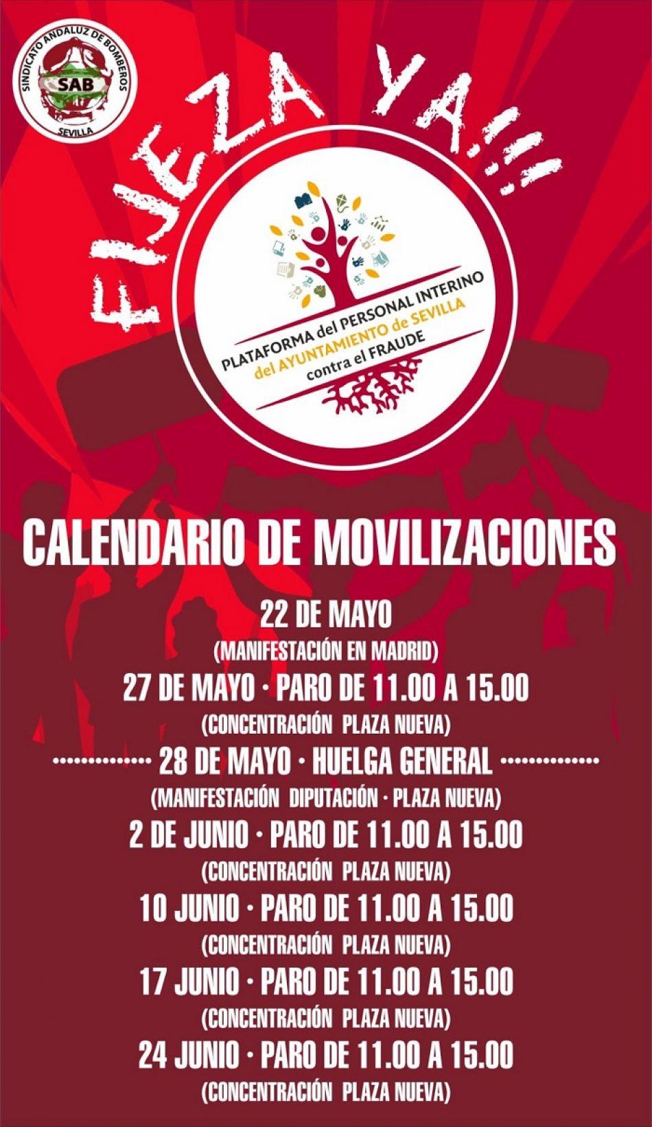 Calendario de movilizaciones del personal interino de Sevilla contra el fraude de ley por abuso de la temporalidad