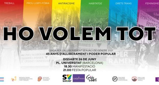 Crida LGBTI, Sororitrans i Sinver convoquen la 45a manifestació per l'alliberament LGBTI a Barcelona