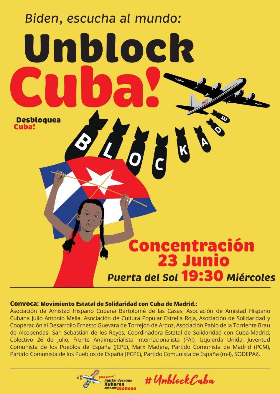 23 de junio: una veintena de concentraciones en el Estado español acompañará la votación en la ONU contra el bloqueo a Cuba