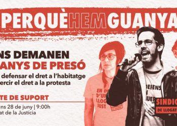 Convocado acto de apoyo el 28 de junio tras pedir la fiscalía nueve años de prisión para tres activistas por el derecho a la vivienda