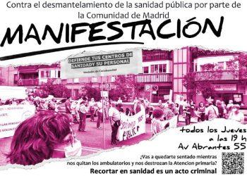 Manifestación contra el cierre del centro de salud de Abrantes y en defensa de la sanidad pública en Carabanchel