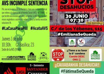 Cuatro desahucios programados el 30 de junio y 1 de julio en Madrid: #EmilianaSeQueda #FatimaSeQueda #OlgaSeQueda #LaCasaParaPili