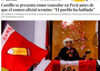 A El País le cuesta reconocer la nueva victoria de la izquierda en Perú: «Castillo se presenta como vencedor»