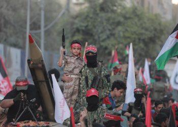 Decenas de miles de militantes del Frente Popular para la Liberación de Palestina (FPLP) se movilizaron en Gaza con consignas anti-israelíes