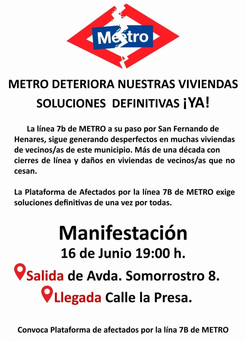 Manifestación en San Fernando de Henares para pedir soluciones definitivas a los daños provocados por la línea 7B de Metro