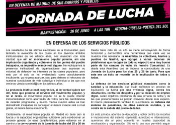 Jornada de lucha en defensa de Madrid, de sus barrios y pueblos: Manifestación el 26 de Junio