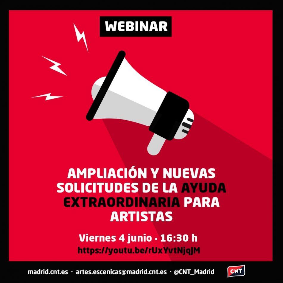 Ampliación de la ayuda para artistas y nuevas solicitudes: resuelve tus dudas con este webinar de CNT Artes Escénicas