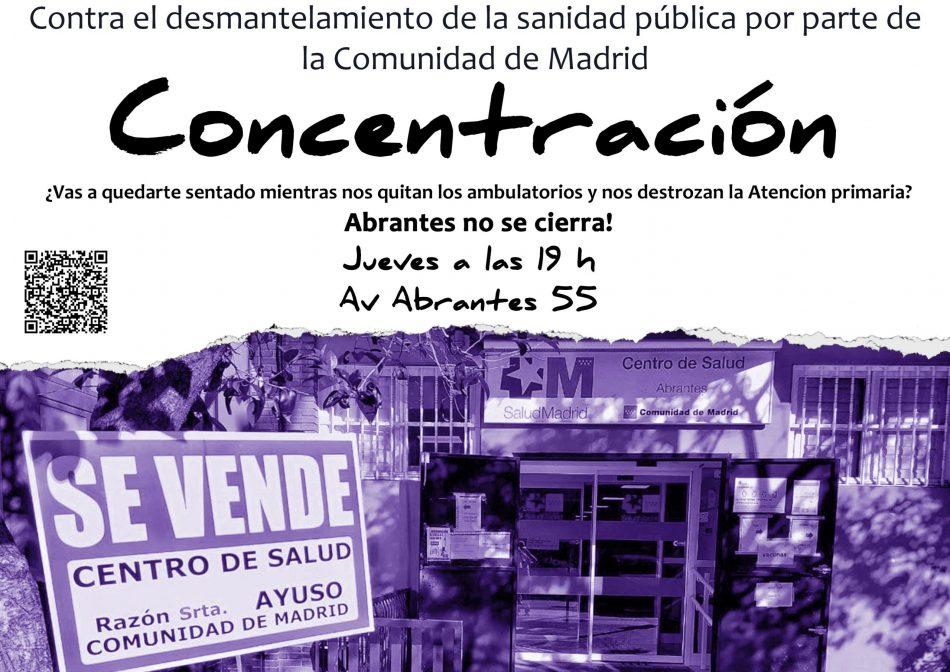 Concentración contra el cierre del centro de salud de Abrantes y en defensa de la Atención Primaria en Carabanchel