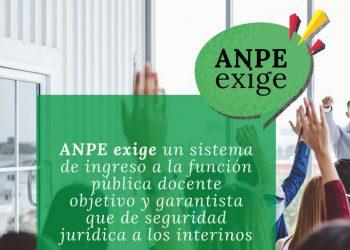 ANPE reivindica un sistema de ingreso a la función pública docente objetivo y garantista que de seguridad jurídica a los funcionarios interinos docentes