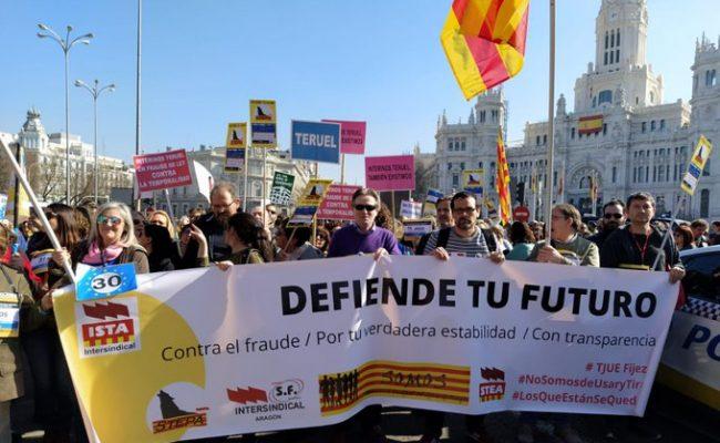 La Confederación Intersindical continuará con las movilizaciones hasta conseguir la estabilidad del personal temporal e interino en fraude de ley