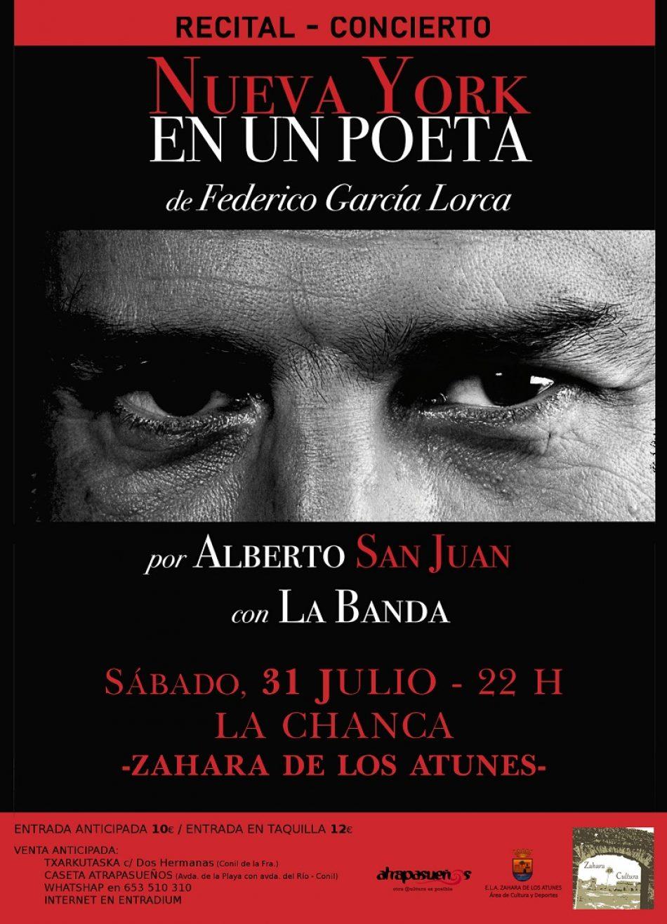 """Alberto San Juan, en Zahara de los Atunes el próximo 31 de julio con """"Nueva York en un poeta"""""""