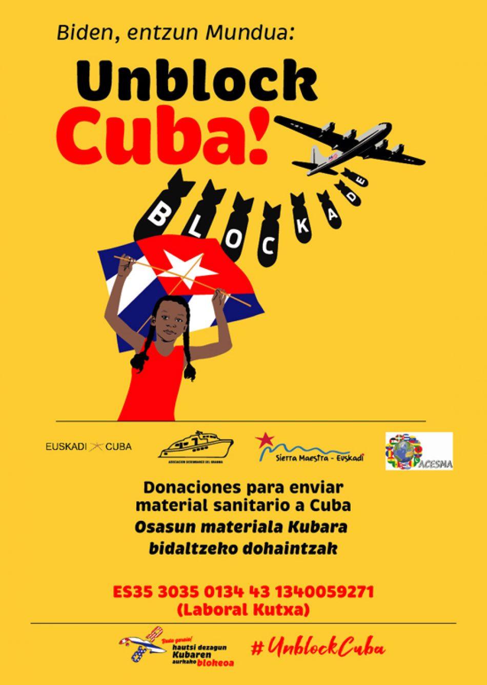 Campaña vasca: material higiénico-sanitario para sistema público de salud de Cuba y actos contra el bloqueo y la injerencia