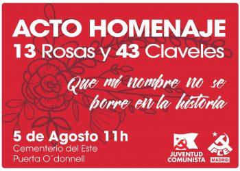 El PCM reivindica el legado de las 13 Rosas y los 43 Claveles en el centenario de la creación del Partido