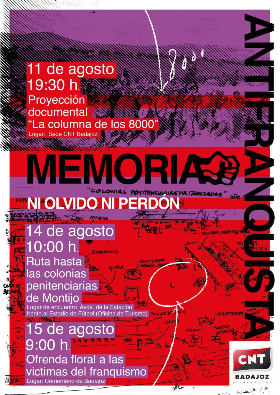 Actos de CNT en recuerdo y homenaje a las víctimas de la represión franquista en Badajoz