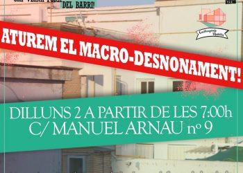 El sindicato de barrio Construyendo Malilla realiza una convocatoria para evitar el macrodesahucio de la calle Manuel Arnau
