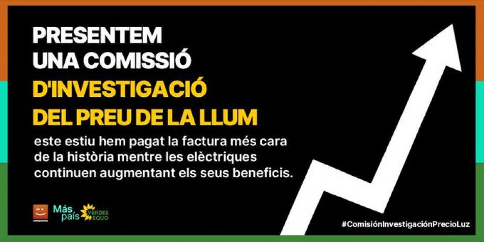 Más País y Compromís piden en el Congreso una comisión de investigación sobre el precio de la luz