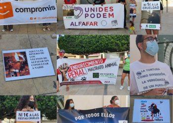 Medio centenar de personas protestan contra los festejos taurinos de Alfafar (Valencia) y por la protección de la infancia