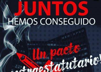 CNT Barcelona: «firma del convenio extraestatutario en Mediaproducción, SLU y Globomedia, SL»