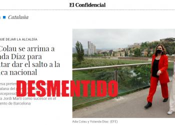 Ada Colau zanja los rumores sobre su supuesto «salto» a la política estatal: «Lo desmiento, es falso al 100%»