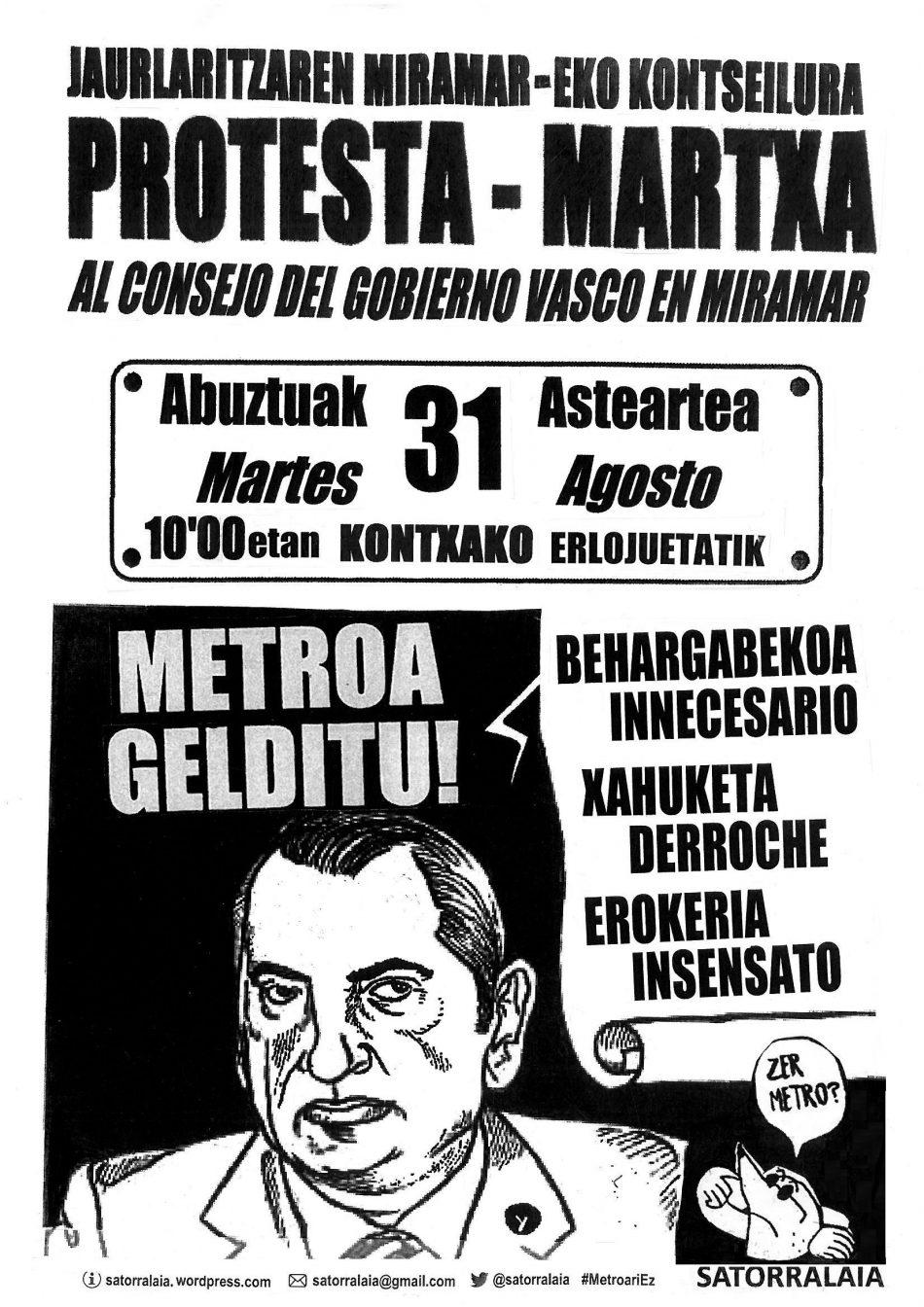 Satorralaia convoca mañanauna marcha contra el Metro al Consejo del Gobierno vasco en Miramar