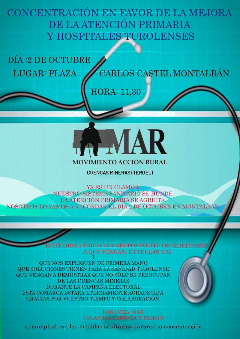 Concentración en Teruel a favor de la mejora de la sanidad rural y por unos hospitales completos al 100%