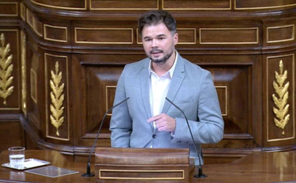 Gabriel Rufián, al Congrés: «No podem acceptar una llei de memòria sense memòria»