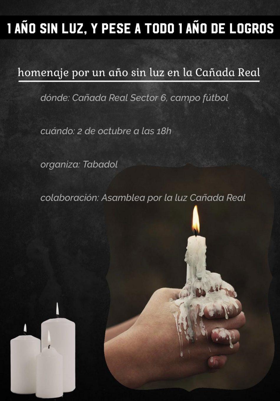 Los vecinos y vecinas de la Cañada Real realizan un acto reivindicación ante un año sin suministro de luz eléctrica