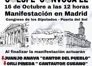 Convocada manifestación el 16 de octubre en Madrid  «Por unas pensiones públicas sin recortes, suficientes y dignas»