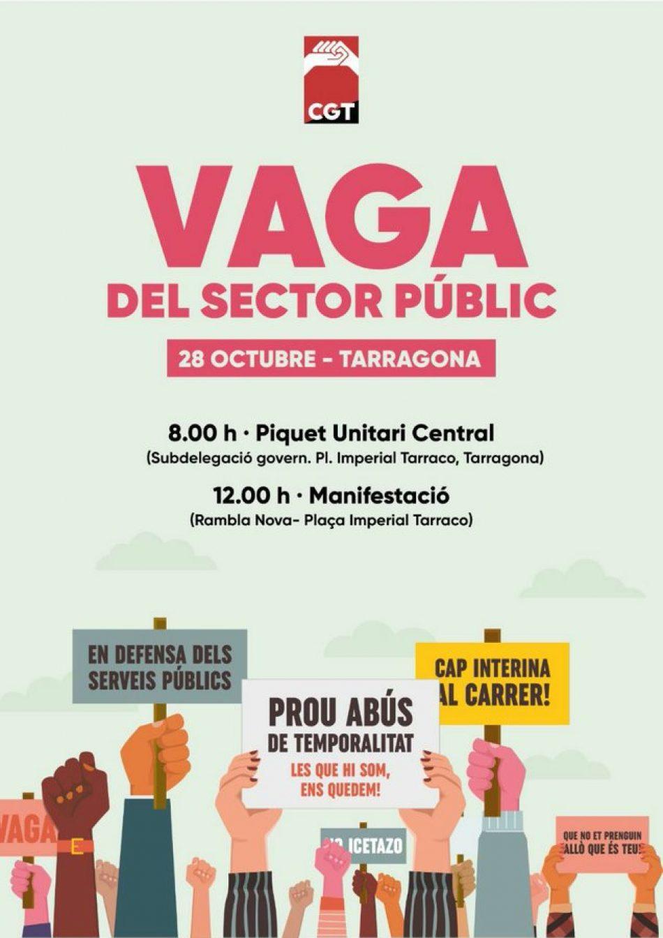 Vaga del Sector Públic a Catalunya i Mobilitzacions del Dijous 28 octubre