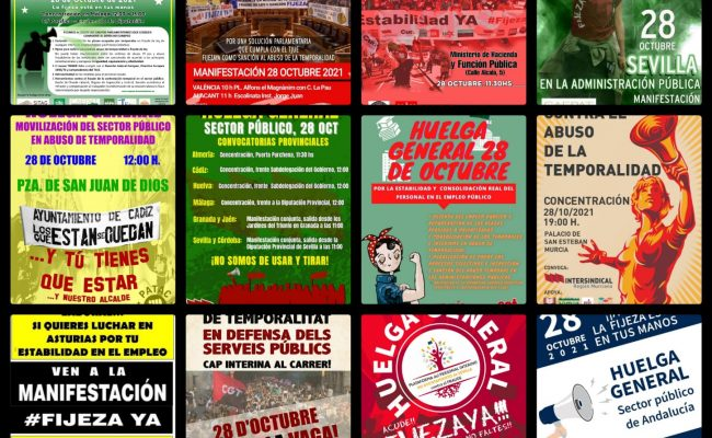 Huelga General estatal por la lucha de los trabajadores en precario de las administraciones públicas: 28 Octubre
