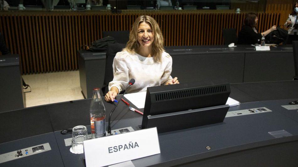 Yolanda Díaz presenta en Luxemburgo el Mecanismo Social de Alerta, que recibe una gran acogida por parte del EPSCO